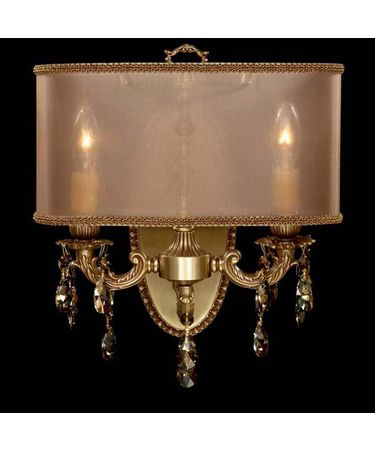 Shown in French Gold Glossy finish with Golden Teak Strass Teardrop crystal and Dark Copper shade